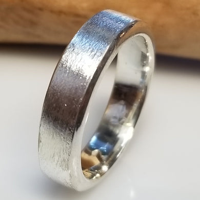 Brushed texture thick fine silver band
