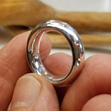 Load image into Gallery viewer, Fine silver Fat Moon ring. A thick band with a smooth inside