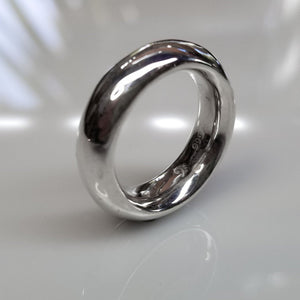 Fine silver Fat Moon ring. A thick band with a smooth inside