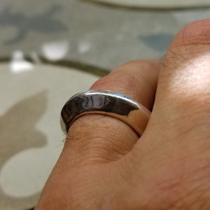 Fine silver Warrior Disk Ring is a generous and bold band with a even bigger attitude