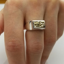 Load image into Gallery viewer, Gold Nugget Silver Ring | a unique sterling silver combined