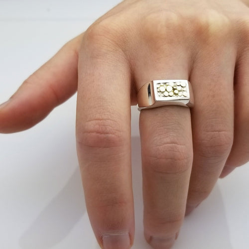 Gold Nugget Silver Ring | a unique sterling silver combined