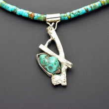 Load image into Gallery viewer, Rustic Arizona turquoise silver pendant one of kind