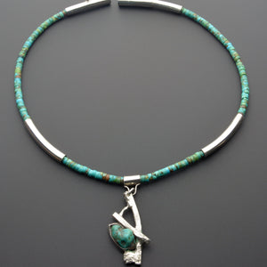 Unique turquoise silver choker one of a kind jewelry