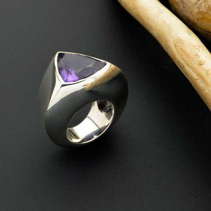Large triangular Brazilian amethyst ring