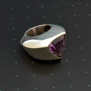 Massive triangular silver ring with amethyst