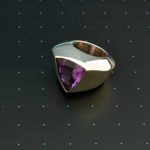 Large Brazilian amethyst triangular dome ring