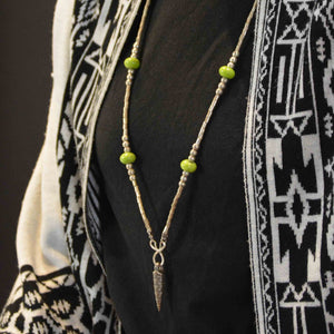 Pinole iron pendant with California green beads