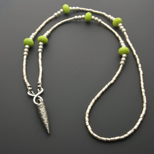 Green California ceramic beads and iron pendant