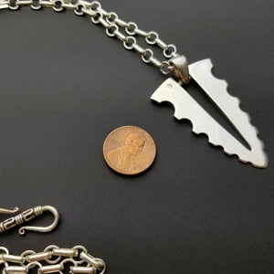 Large blade silver pendant