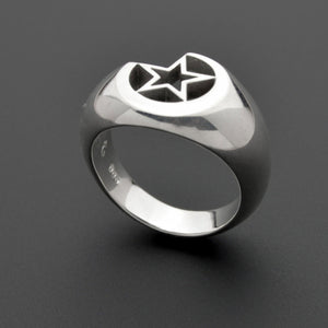 Bold star and moon silver ring