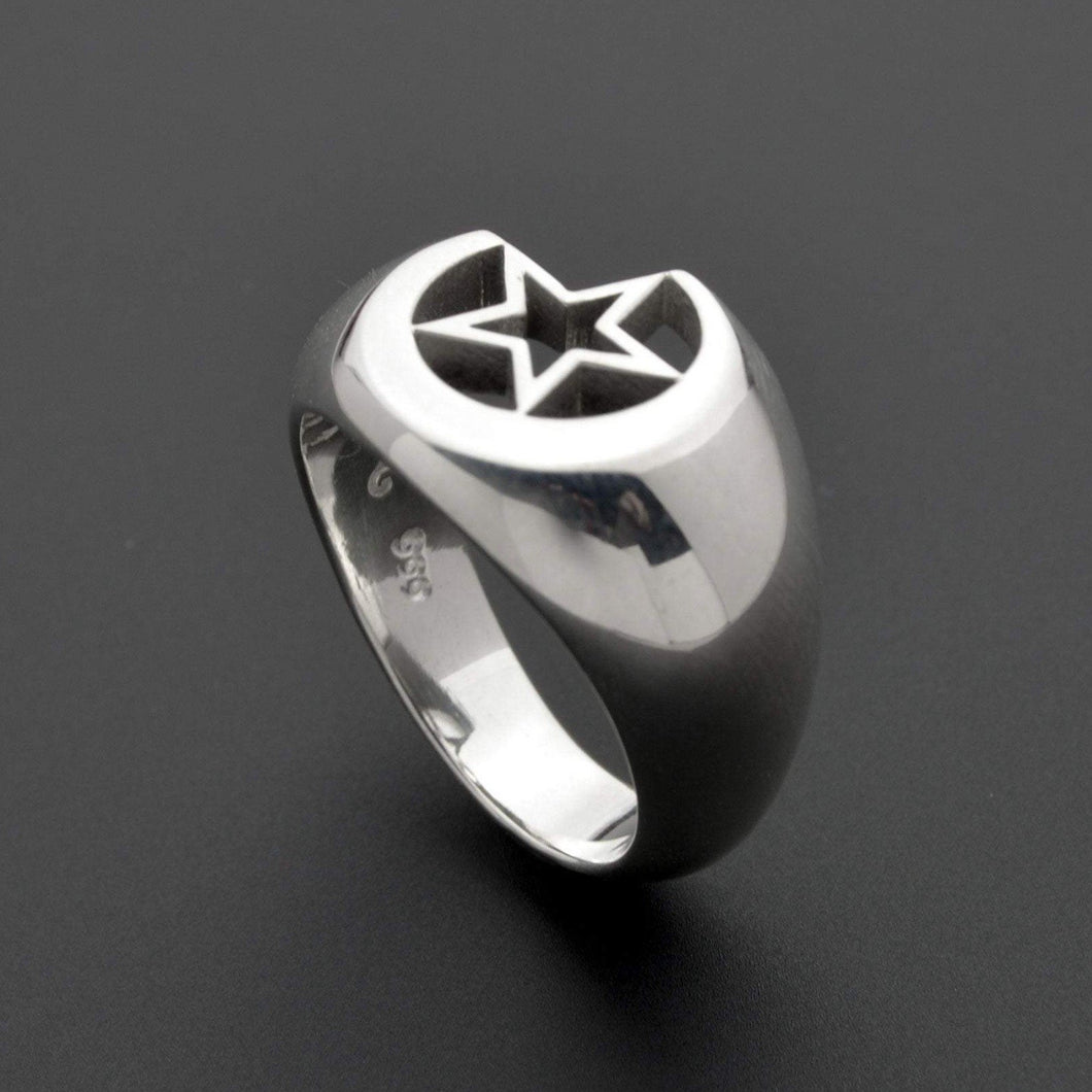 Designer star and moon ring