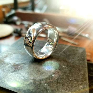 Full Moon Sterling Silver.925 Ring | Wide long walled ring