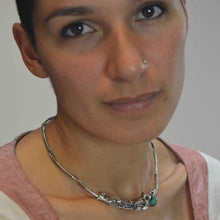 Lade das Bild in den Galerie-Viewer, Natural organic silver and turquoise choker