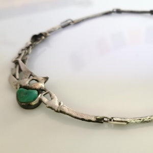 Green turquoise and silver choker