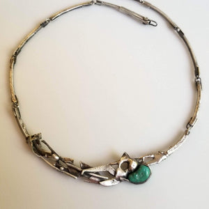 Unique melted silver choker with green turquoise