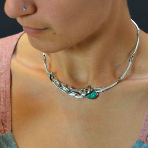 Melted silver and green turquoise choker