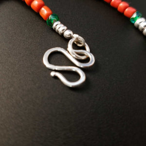 S hook silver clasp on red bead necklace