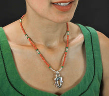 Load image into Gallery viewer, red and green silver necklace