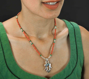 red and green silver necklace