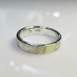 Thick reticulated silver band with gold