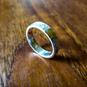 14 K gold inlay in sterling silver band