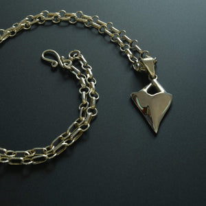 Shark tooth sterling silver chain and pendant