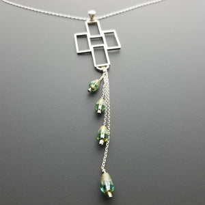 Czech emerald beads and cross pendant