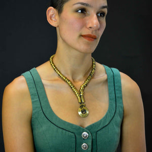 Tribal disk pendant and thick necklace