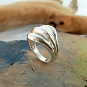 Triple loop dome Florence silver ring