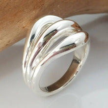 Load image into Gallery viewer, Triple loop dome sterling silver ring