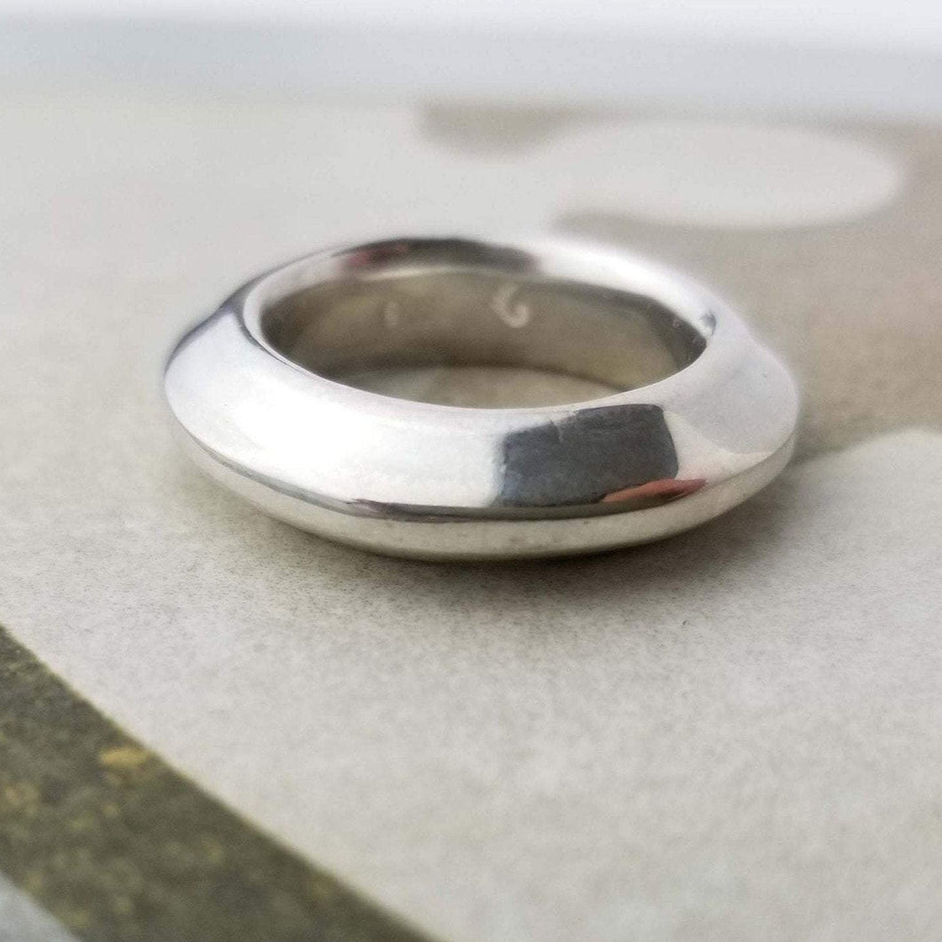 Warrior Disk Ring in sterling silver | edgy | a thick band