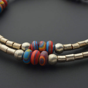 Fordite and African beads necklace