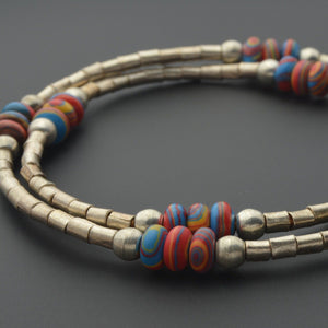 Fordite and African metal beads necklace