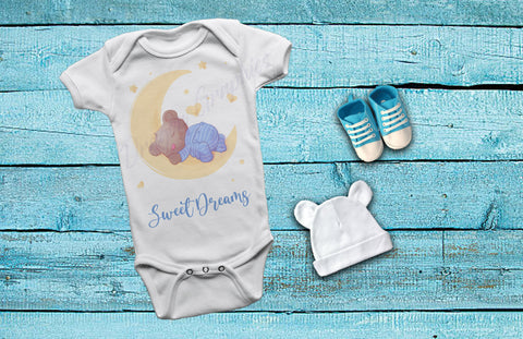 Sweet Dreams Mooney Bear in blue Baby One-Piece