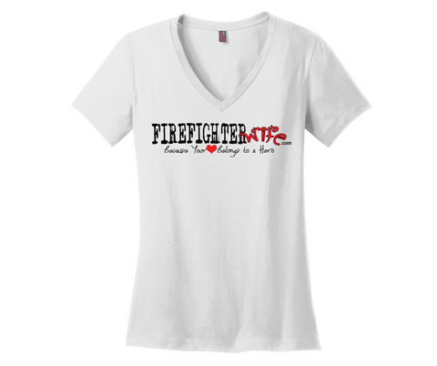 Firefighter Wife  Short Sleeve Tees - Ladies V-Neck