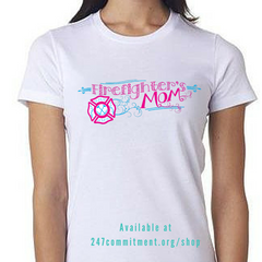 Pink & Teal Firefighter Wife or Mom Tees
