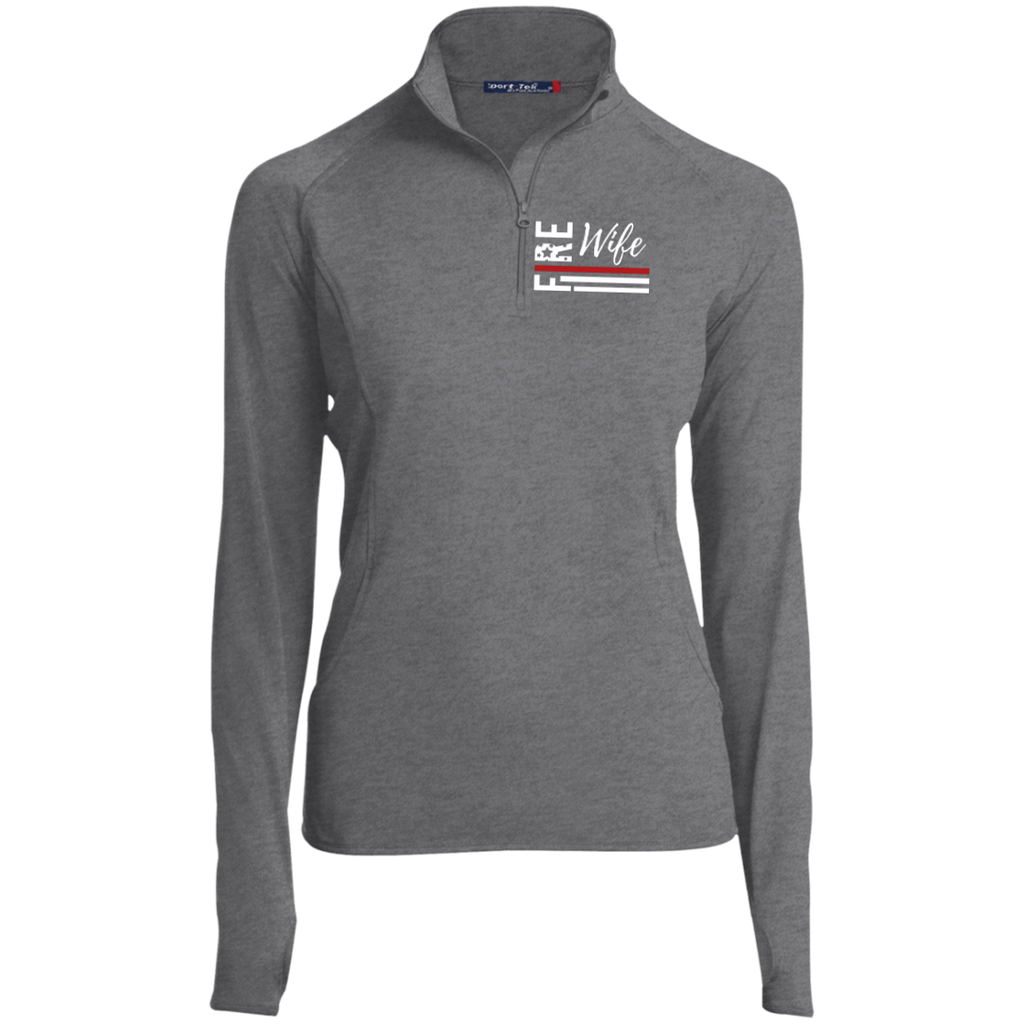 Fire Wife Flag - embroidered Sport-Tek Women's 1/2 Zip Performance Pullover