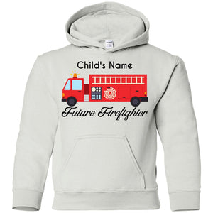Personalized Script Future Firefighter Youth Pullover Hoodie by Gildan