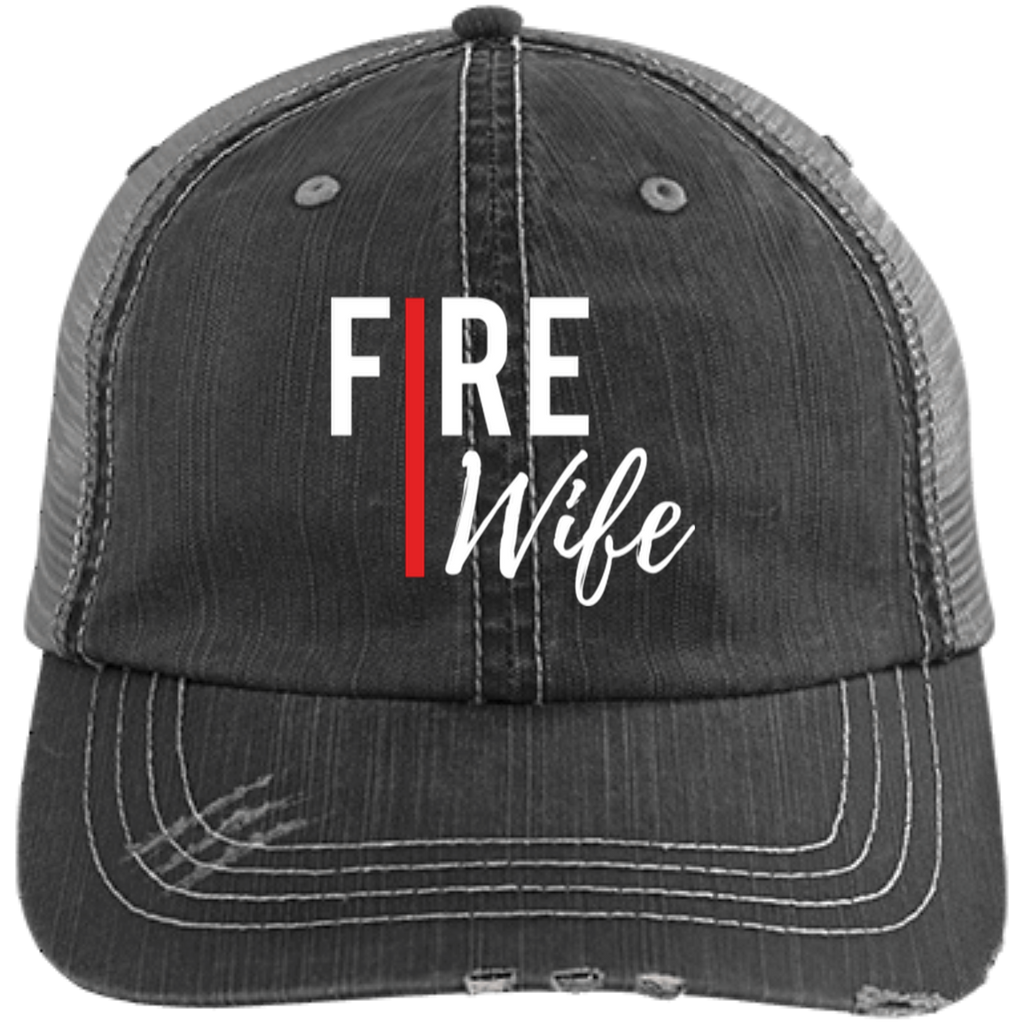 FIRE WIFE REDLINE Embroidered Distressed Unstructured Trucker Cap