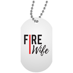 FIRE WIFE REDLINE White Dog Tag