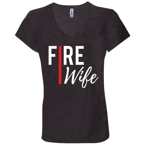 Fire Wife Red Line Bella + Canvas Ladies' Jersey V-Neck T-Shirt