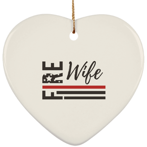 FIRE WIFE FLAG Ceramic Heart Ornament