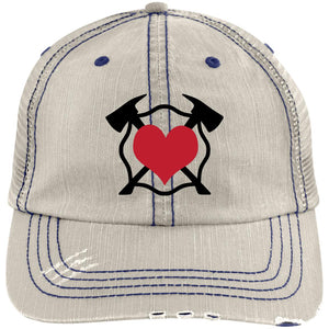 Crossed Axe Maltese Distressed Unstructured Trucker Cap