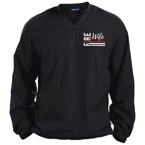Fire Wife Flag - embroidered Sport-Tek Pullover V-Neck Windshirt
