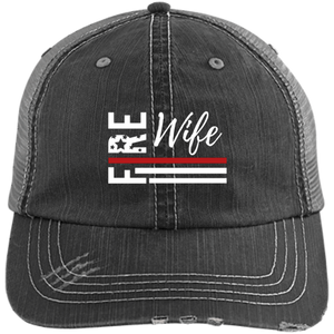 FIRE WIFE FLAG Embroidered Distressed Unstructured Trucker Cap