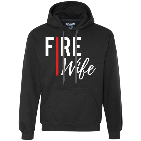 Fire Wife Red Line Gildan Heavyweight Pullover Fleece Sweatshirt