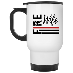 Fire Wife Flag White Travel Mug