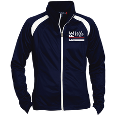Fire Wife Flag - embroidered Sport-Tek Ladies' Raglan Sleeve Warmup Jacket