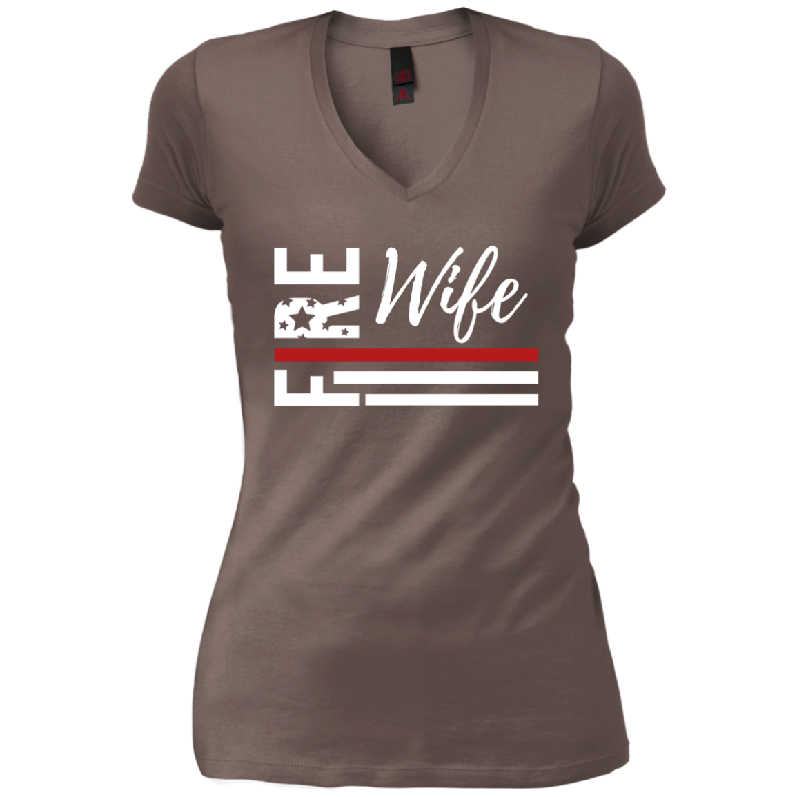 737e12ee94a47a Fire Wife Flag White District Junior's Vintage Wash V-Neck T-Shirt